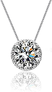 Sterling Silver Diamond Pendant Necklace S925 Halo Solitaire Cubic Zirconia Rose Gold