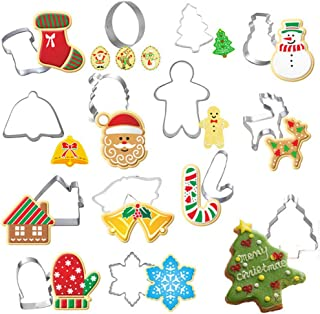 Rockia Christmas Cookie Cutter Stainless Steel Cake Mold Christmas Elements Tree Snowman Reindeer Socking Bell Shaped Metal Plaque Frame Pancake Mold Christmas Party Supplies 14 Pieces Set