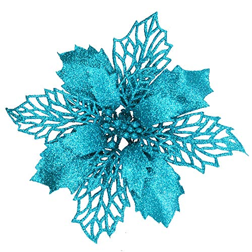 24 Pcs Christmas Teal Blue Glittered Mesh Holly Leaf Artificial Poinsettia Flowers Picks Tree Ornaments 5.9' W for Teal Blue Christmas Tree Wreath Garland Floral Gift Winter Wedding Holiday Decoration