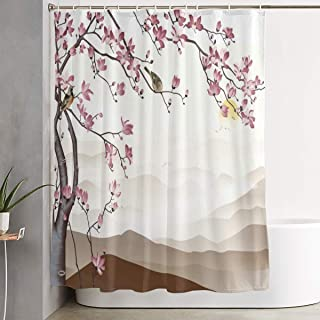 AQqdh Personalized Landscape-Fog-Hills-Sunrise-Two-Flocks-of-Birds-Flying-Away-Blooming-Cherry-with-Pink-Flowers-and-Sitting Shower Curtain Waterproof Polyester Bathroom Curtain Decor,60 X 72 Inch