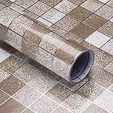 VORCOOL - Adhesivo para azulejos, mosaico, papel pintado, resistente al agua, adhesivo para pared, para cocina, baño, decoración de pared, 45 x 200 cm (café)
