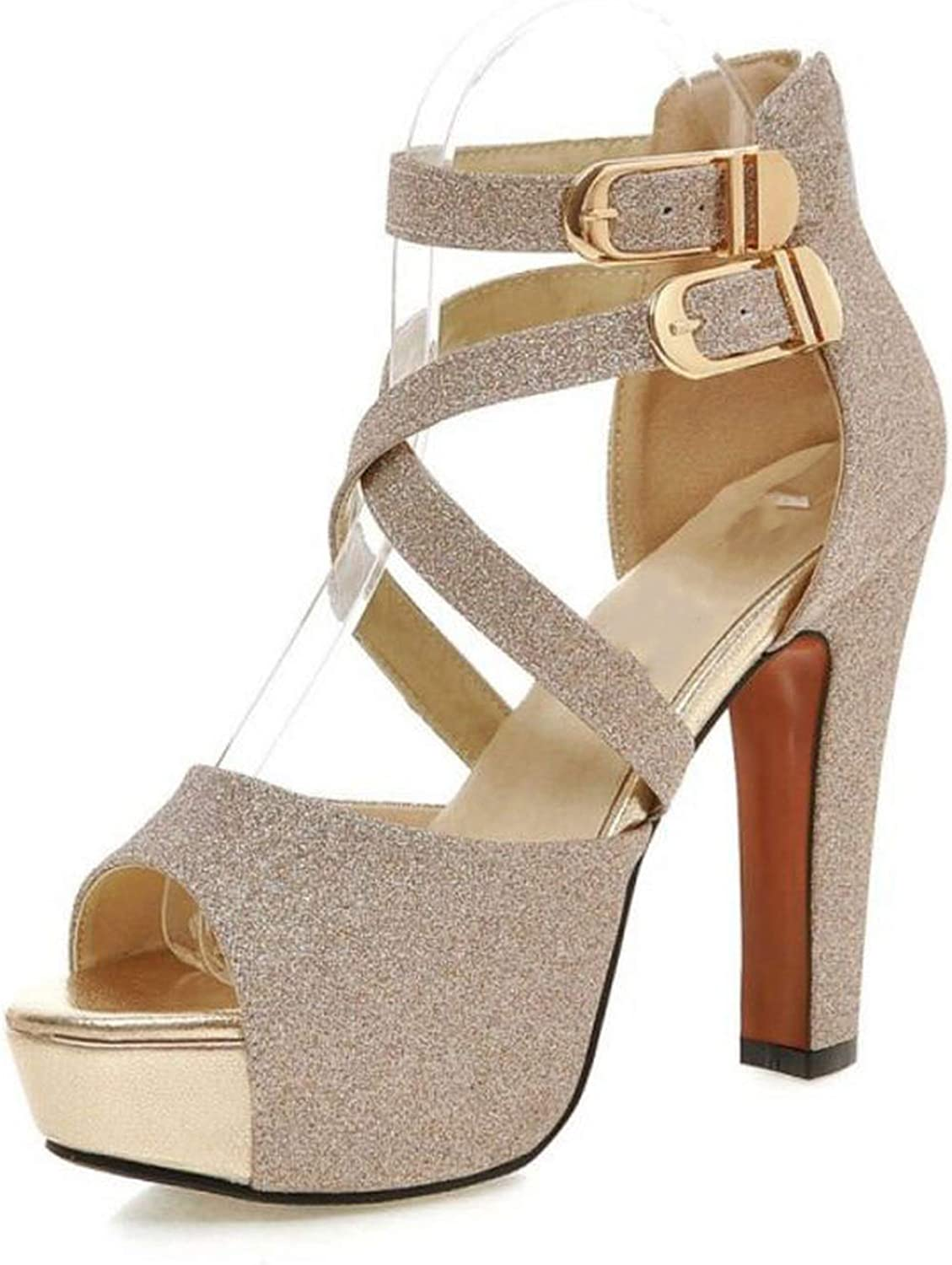 April With You Size 33-43 Sexy Women High Heel Sandals Shine Peep Toe Summer Women Thick Heels Pumps