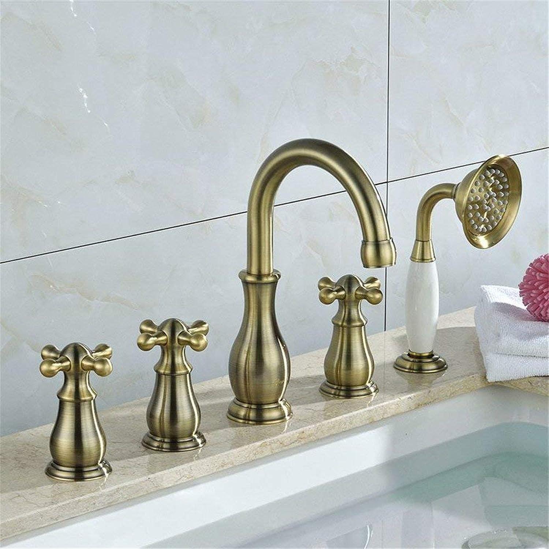 Volle Kupfer Badewanne Armatur Zylinder Edge Europischen retro Badezimmer Dusche Wasserhahn   5 Stück kalte und warme Mischbatterie Dusche