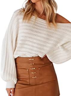 SUNJIN ACRO Women's Loose Shoulder Off Batwings Sleeve Sweater Knitted Pullover Top
