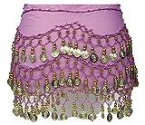 A-Express para la Barriga Dancing 3 Filas para Danza Bufanda de Monedas de para Faldas cinturón de Piel de, Color Lilac-Gold Coins, tamaño Talla única