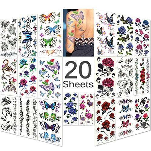 Lady Up 20 Sheets Mixed Style Body Art Temporary Tattoos Paper, Flowers, Roses, Butterflies and Multi-Colored Waterproof Tattoo for Women, 90×190mm