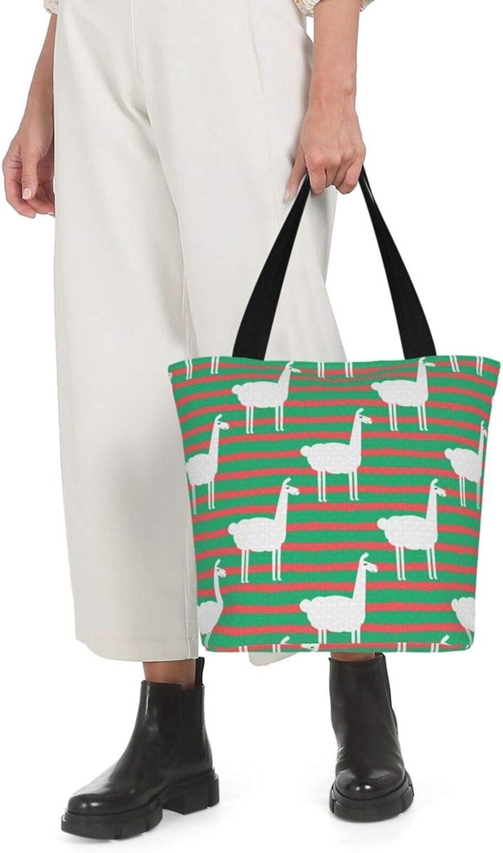 Green And Red Stripe Llama Themed Printed Women Canvas Handbag Zipper Shoulder Bag Work Booksbag Tote Purse Leisure Hobo Bag For Shopping