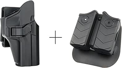 efluky Double Magazine Pouch + H&K USP 9mm/.40 Full Size Belt Holster Kit, Polymer OWB Right Hand Holster with Trigger Release Adjustable Cant Only for Heckler & Koch USP 9 mm/.40, Mag Pouch for 9mm