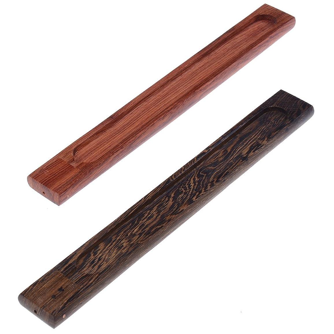 シンボル窓布yiphates 2ピース木製香炉スティックホルダーAshキャッチャー木製トレイwith Adjustable Incense Stick Holder