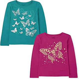 The Children's Place Girls' Long Sleeve Graphic T-Shirt 2-Pack