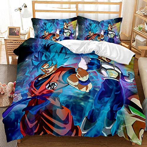 Juego de ropa de cama infantil con diseño de dragón Ball 3D, funda de edredón de microfibra, para niños y niñas (220 x 240 cm)