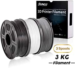 SUNLU 3D PLA Plus Filament 1.75mm Dimensional Accuracy +/- 0.02 mm, 3KG Spool,3D Filament Fit Most FDM Printer, PLA+Black+White+Gray