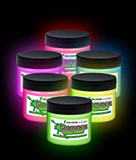 6 Pieces - 2oz Glow in the Dark Paint for Art & Crafts, Painting, & Event Decorations - Assorted