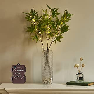 LITBLOOM Lighted Maple Leaf Branches 24 Fairy Lights for Home Fall Thanksgiving Decor