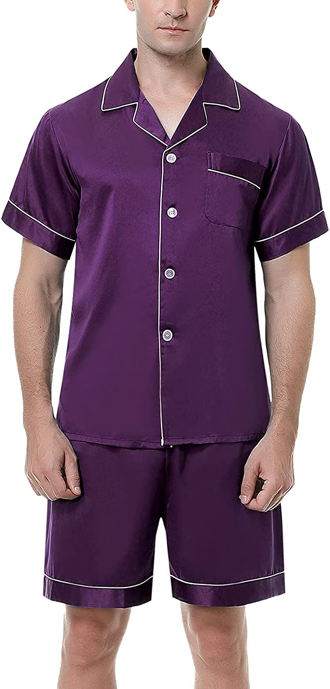 Men's Satin Pajama Set Button Down Short Sleeve Shirt Shorts Pjs Classic lightweight Sleepwear Loungewear Sets