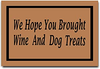 DayliPillow We Hope You Brought Wine and Dog Treats Doormats in Here Funny Doormat 23.6