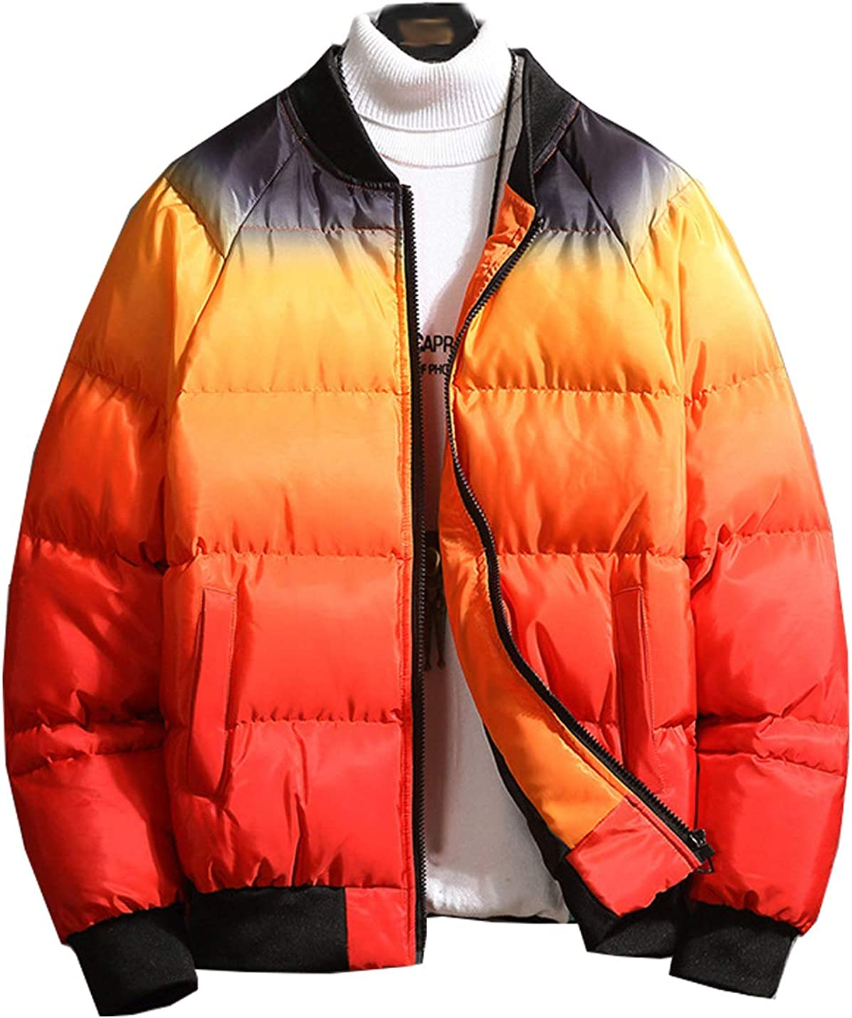 Hongsui Winter Men's Casual Stand-collar Color Block Puffer Jacket Outdoor Full Zipper Down Jacket