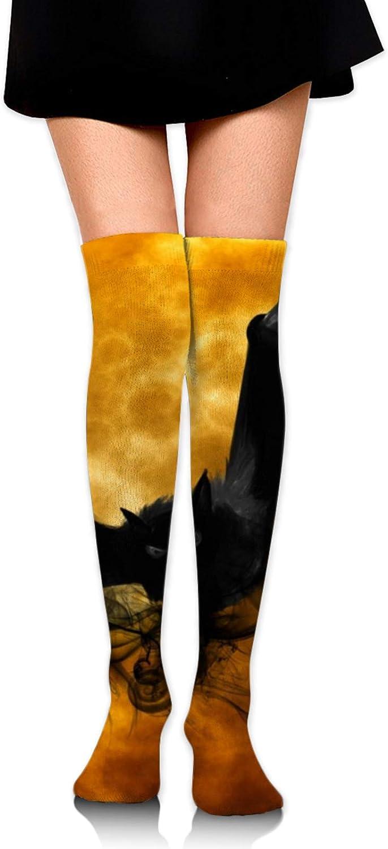 SWEET TANG Women Girl Thigh High Socks Over Knee Knit Socks Leg Warmers for Home, Office Daily Wear All Seasons, Full Moon Flying Black Bats