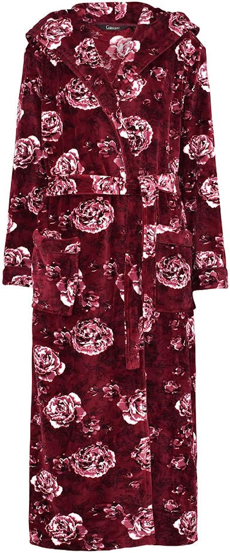 Slenderella GL8746 Women's Rasberry Red Floral Long Sleeve Dressing Gown