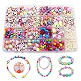 Children DIY Bead Set, 550pcs Pony Alphabet Pop Beads for Making Necklace Bracelet Ring, Art Craft & Jewellery Making Kit for Kids Girls Age 4 5 6 7 8, 24 Types (550pcs DIY Beads)