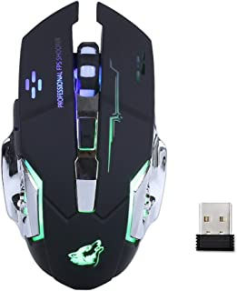Mengshen Rechargable Wireless PC Gaming Mouse - with Silence Click, 3 Adjustable DPI - GM08 Black