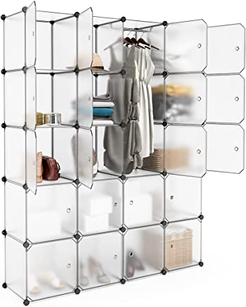 LANGRIA DIY Modular Shelving Storage Organizing Closet with Translucent Doors and Cube Design for Clothes,Shoes,Toys 20 Cube HF-CUBE-W-20
