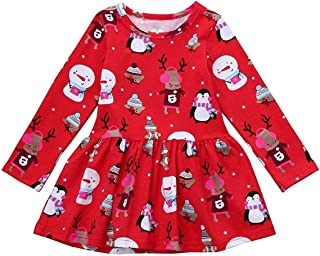 Toddler Baby Girls Christmas Day Dress Kid Baby Girls Ruffle Long Sleeve Tops Baby Girl Skirt Outfit Set