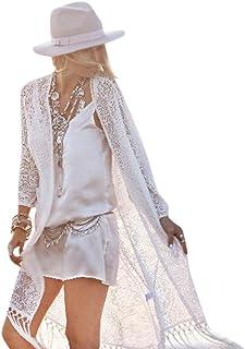 Vectry Blusen Damen Mädchen 2018 Frühling Sommer New Beach Home Party Schön Spitze Schal Kimono Cardigan Vertuschung Beach Weiß Beachwear Long Tassel Smock