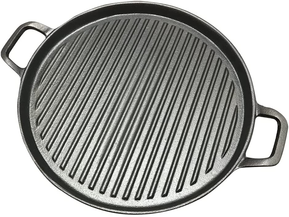 GLLP half 30cm Thickened Striped Cast Iron BBQ Grill Steak Pan Frying Sale item
