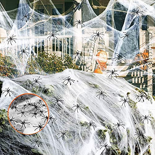 SULOLI Halloween Spider Web Decoration,60g Spider Web Halloween Decoration with 30pcs Fake Spiders Stretchable Halloween Cobwebs Decorations 300Sqft