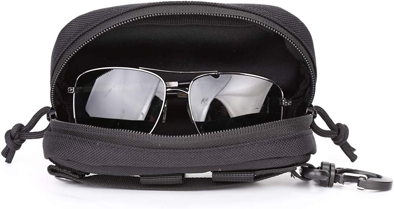 Eyeglasses Hard Case Tactical Molle Zipper Sunglasses Carrying Case 1000D Nylon with Clip