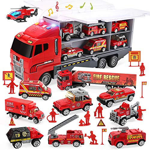 CUTE STONE 28 in 1 Fire Trucks Push and Go Car Carrier Truck Toy, Play Vehicles with Sounds and Lights, 10 Mini Diecast Trucks Included