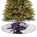 Falda rústica para árbol de Navidad con temática de bruja y gatito para decoración de fiesta de Navidad, Año Nuevo, día festivo, hogar, 76,2 cm
