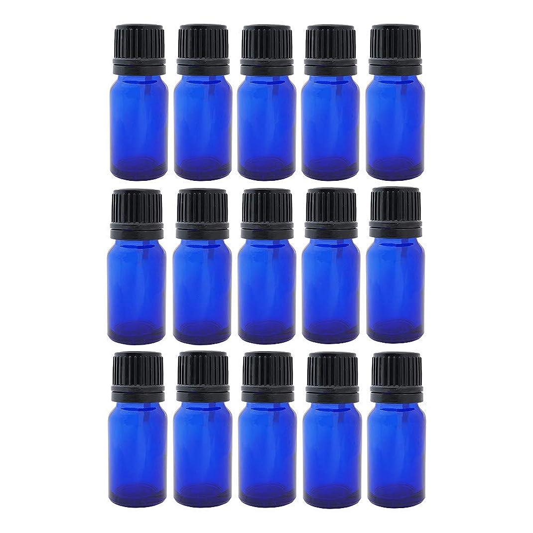 優先権ボルトまどろみのある遮光ビン 10ml 瓶 15本セット ブルー(ドロッパー キャップ付)