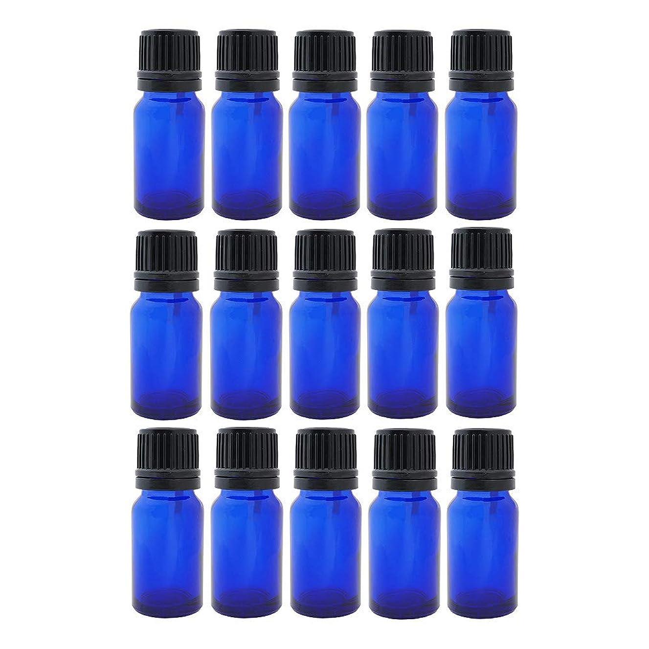 接続された検閲家禽遮光ビン 10ml 瓶 15本セット ブルー(ドロッパー キャップ付)