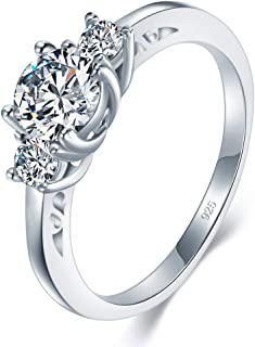 BORUO 925 Sterling Silver Ring, Cubic Zirconia CZ Diamond Eternity Engagement Wedding Band Ring