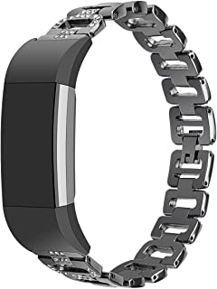 Cywulin Compatible for Fitbit Charge 2 Replacement Bands, Fashion Bling Luxury Stainless Steel Smart Watch Wristband Strap Fitness Bracelet Crystal Rhinestone Metal Accessories Women Men (Black)