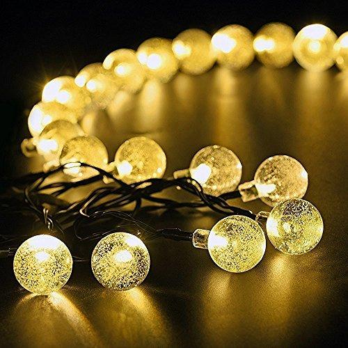 marsboy ghirlanda di luci LED - Catena luminosa a energia solare per esterni (22.9ft, 7 mt - 30 LED) bianco caldo per decorazioni di Natale, Giardino, Patio, feste, matrimoni