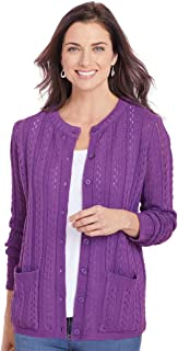 AmeriMark Women's Cardigan Sweater Button Down Long Sleeve with Two Front Pockets