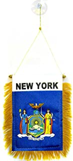 AZ FLAG New York Mini Banner 6'' x 4'' - US State of New York Pennant 15 x 10 cm - Mini Banners 4x6 inch Suction Cup Hanger