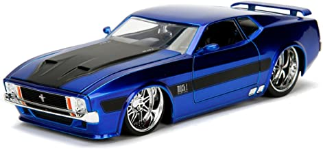 1973 Ford Mustang Mach 1 Blue with Black Stripes 1/24 Diecast Model Car by Jada 99972