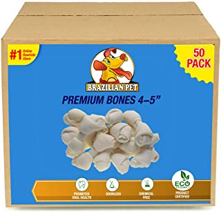 4-5 Inch Premium Dog Bones –Chewing Dog Treat Made with The Best Rawhide 100% Natural, No Additives, Chemicals or Hormones Natural Grass Fed in South America - USDA/FDA Approved
