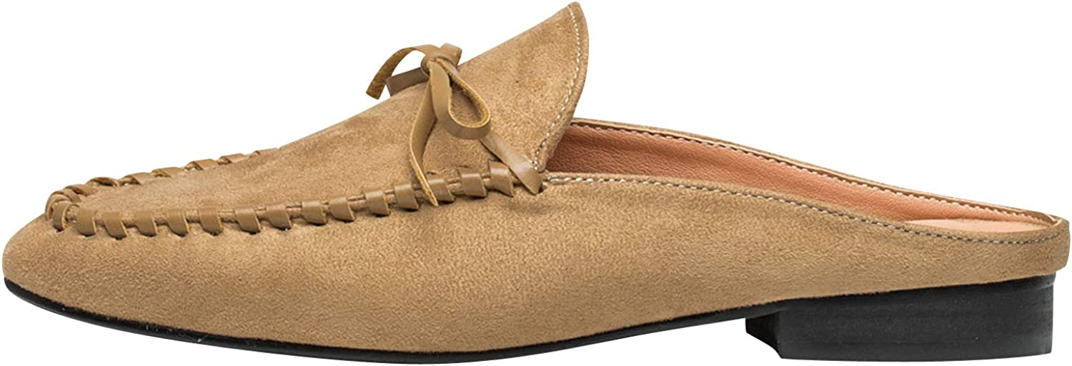 AnnaKastle Womens Moc Toe Suede Slipper Backless Loafer Flats