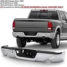 ACANII - For 2009-2018 Dodge Ram 1500 w/Dual Exhaust & Sensor Holes Chrome Steel Rear Step Bumper Complete Assembly