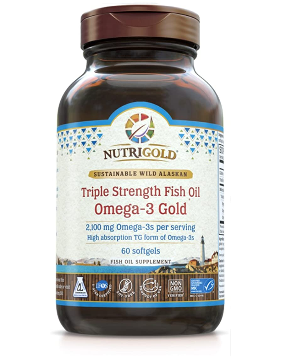 Nutrigold Triple Strength Omega-3 Fish Oil Supplement, 2100 milligrams, 60 Softgels