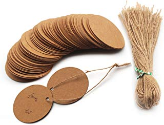 WaterLuu 100 Pack Kraft Paper Tags, Gift Tags with String Craft Tags Bonbonniere,Paper Tags with Twine Perfect for Arts and Crafts, Wedding Christmas Day,Thanksgiving (100 Pack- Round)