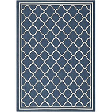 Safavieh Courtyard Collection CY6918-268 Navy and Beige Indoor/Outdoor Area Rug (4' x 5'7 )
