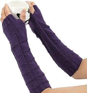 Oxford shoe Winter Women's Gloves Hand Crochet Wrist Arm Warmer Triangle Flower Knitted Long Sleeve Fingerless Mitten CWCUICAN (Color : Purple)