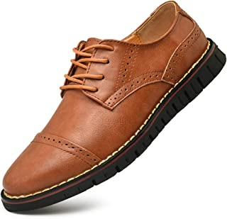 Men`s Brogues Oxford Genuine Leather Dress Shoes Wingtip Formal Loafers Lace-up Casual Business Shoes Brown