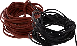 HOMYL 2 Pieces 3 mm Flat Leather Cord Leather String Beading Craft Thread Strings 5 M Each Coffee & Black